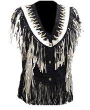 Ladies black, White bone leather fringe vest