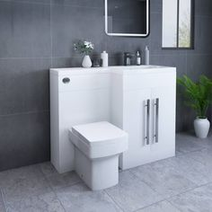 Calm White Right Hand Combination Vanity Unit Set with Boston Toilet Combination Vanity Units, Toilet And Basin Unit, Concealed Cistern, Basin Taps, White Vanity, Direct Marketing, White Furniture, The Unit, Bright