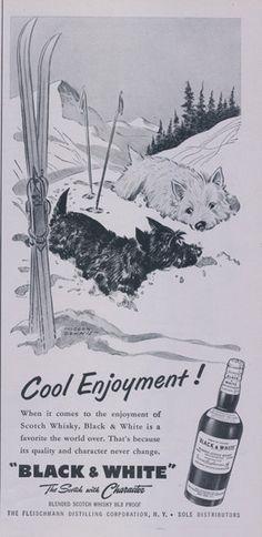 1956 Black & White Scotch Ad Vintage Whisky by AdVintageCom