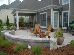 Paver Patio Designs Backyard Patio With Fire Pit