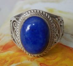 MARKED-DOWN-20-GENUINE-6-81-ct-Lapis-Lazuli-on-925-Sterling-Silver-Ring
