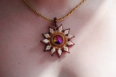 Sunny White and Purple Pendant by BeadedInCrystal on Etsy