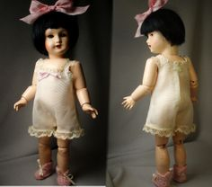 Bleuette's one piece Chemise, from early 1900s pattern, by House-of-Bleus.  Slippers also knitted from LSDS instructions