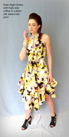 The Date Night Dress in watercolor print