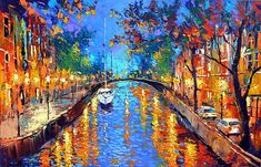 "Canvas Wall Art - Romantic evening — Large Landscape Love Oil Painting On Canvas By Dmitry Spiros. Size: 28""x40""  (70cm x 100cm)"