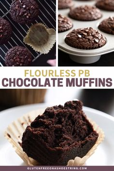 These flourless chocolate peanut butter muffins are unbelievably moist and tender, and packed with chocolate and peanut butter flavor. You simply won't believe that they're grain-free, with no added butter or oil!These Butter Chocolate Sin Gluten, Hot Chocolate Fudge, Flourless Chocolate, Chocolate Peanuts, Chocolate Peanut Butter, Chocolate Muffins Moist, Chocolate Food, Muffins Sans Gluten, Dessert Sans Gluten
