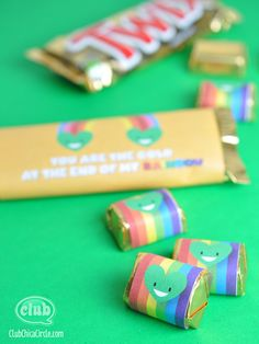 """""""You are the pot of gold at the end of my rainbow"""" Candy bar free printables"""