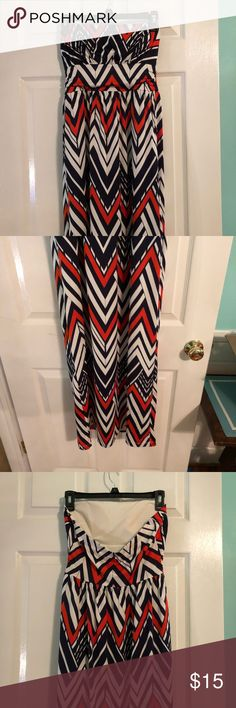Navy and orange maxi dress •Only been worn a few times  •comfy, cool material •has pockets •built in padding Dresses Maxi