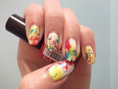 Dip a straw into polish and blow it onto nails!