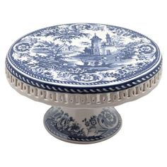 Toile Blue Cake Stand