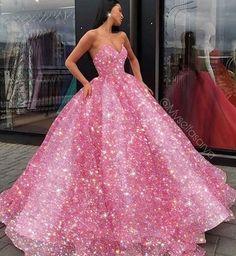 Big Dresses, Pretty Prom Dresses, Quince Dresses, Pink Prom Dresses, Prom Dresses With Sleeves, Elegant Dresses, Beautiful Dresses, Pink Quinceanera Dresses, Pink Princess Dress