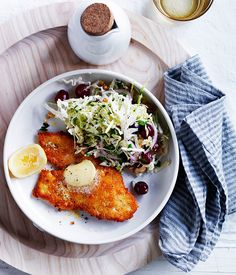 Australian Gourmet Traveller Fast recipe for Chicken schnitzels with cabbage and grape salad
