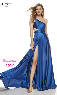 This long prom dress by Alyce 1517 gives a lot of fun vibes with one shoulder and cut out sides in chiffon material and a side slit that says vavavoom - shop prom-avenue Available in Sapphire Blue, Lipstick, Black Prom Dresses Blue, Prom Party Dresses, Strapless Dress Formal, Formal Dresses, One Shoulder Prom Dress, Plus Size Gowns, Prom Dress Stores, Designer Prom Dresses, Chiffon Gown