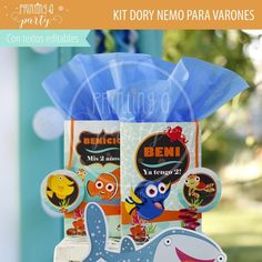 Muchas ideas para decorar tu fiesta de Dory y Nemo con estas decoraciones para imprimir y armar. Recibí tu kit en tu mail, imprimí y decorá. Nemo Y Dory, Party Printables, Food, Invitation Cards, Printables, Tags, Decorations, Invitations, Essen