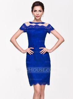 Sheath/Column Scoop Neck Knee-Length Lace Cocktail Dress (016065502)