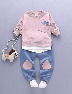Unisex Casual/Daily Sports Print Sets,Cotton Spring Fall Long Sleeve Clothing Set