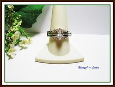 2ct (tgw) Marquise and Brilliant cut CZ Wedding Set in Sterling Silver ~ sz 10 ~ Prev loved :)