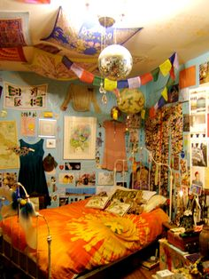 """""""This is my bedroom at home. More than once it has been described as a """"museum of my life."""" I think that's pretty accurate. It's my sanctuary, a mix of Peter Pan ethereal and hippie pad with a little 70's punk vibes.""""—Submission from CaseyWait."""