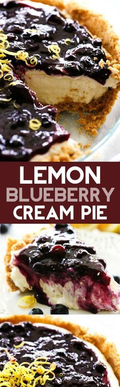 *USE THIS BLUEBERRY SAUCE* Lemon Blueberry Cream Pie. A delicious and fresh lemon cream pie in a homemade graham cracker crust and topped with the most delicious homemade blueberry sauce. This is a perfect summertime treat! 13 Desserts, Lemon Desserts, Lemon Recipes, Sweet Recipes, Delicious Desserts, Dessert Recipes, Pie Recipes, Recipes Dinner, Fruit Deserts Recipes