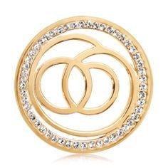 Nikki Lissoni Brass Gold Plated 33Mm Sophisticated Circle Pattern W/Clear Swarovski Element Set Medium Coin