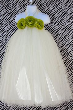 Kid's Ivory Halter Tutu Dress with Green Flowers Accents- I plan to make a DIY tutu dress, so this would be a neat way to decorate it.