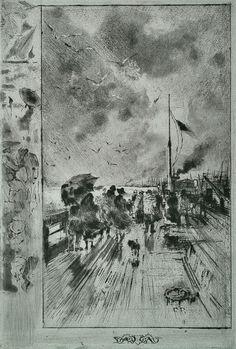 Félix Buhot (1847 - 1898)  UN DÉBARQUEMENT EN ANGLETERRE - 1879.   Etching, drypoint, and aquatint, 320 x 238 mm