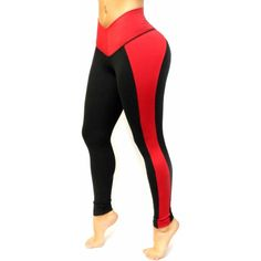 Black and Red Leggings with Internal body shaping girdle (82 CAD) ❤ liked on…