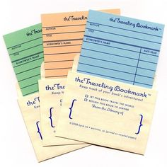 3Pack of Traveling Bookmarks  library card bookmarks by byvikINK, $6.00