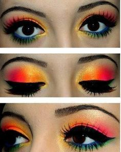 Simple eye makeup tips for 2019 a nice hawiian theme of makeup . girls go buy some orange and pinkish color if make up cause this would look goooood on you ! Dark Eye Makeup, Simple Eye Makeup, Eye Makeup Tips, Beauty Makeup, Bright Makeup, Colorful Makeup, Edgy Makeup, Gothic Makeup, Fantasy Makeup