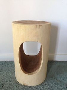 AS-NEW-Trendy-GLOBE-WEST-WOOD-STUMP-WOOD-STOOL-Seat-Or-Side-Table-Org-RRP-350