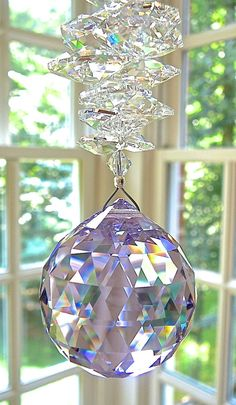 "Large 40mm Violet Swarovski Crystal Ball Suncatcher with Cascade of Clear Swarovski Octagons - ""CATHERINE GRANDE"" - Available in 10 Colors"