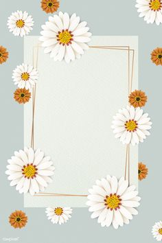 Daisy Wallpaper, Flower Background Wallpaper, Framed Wallpaper, Light Blue Background, Cute Wallpaper Backgrounds, Flower Backgrounds, Cute Wallpapers, Molduras Vintage, Instagram Frame Template