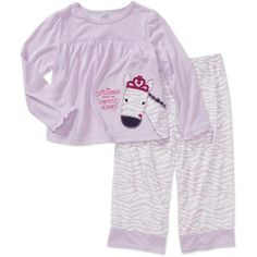 Child of Mine Carters Baby Girls' 2-Piece Zebra Tee and Pant PJ Set