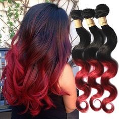 100% Brazilian Human Hair Extension Body Wave Grade 6A Burgundy Hair Wefts #WIGISS #HairExtension