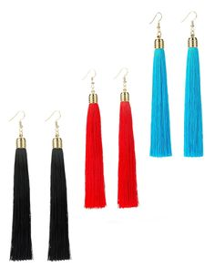 REVOLIA 3 Pairs Womens Long Tassel Dangle Earrings for Girls Fringe Drop Earrings Elegant  AFFORDABLE EARRINGS SET 3 Pairs Long Tassel Earrings Set Affordable Price Give You Different Choices for Everyday Wear.  BEATIFUL LONG TASSEL4.2 Inches Long Fringe Earrings Give You Charming Look and Win More Compliments.  SAFE EAR PINStudy Safe Ear Pin(20G 0.8MM) No Worry about Allergies Comfortable to Wear Longer Time to Use.  VINTAGE STYLE3 Pairs Long Tassel Dangle Earrings Set Vintage Style Great…