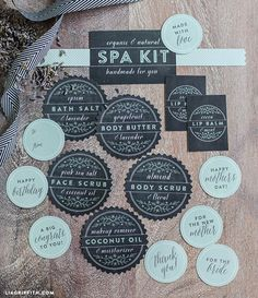 Printable Labels for a Homemade and Natural Spa Kit