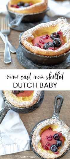 The Mini Cherry Curd Dutch Baby will be the brunch star! A fluffy dutch baby and refreshing cherry curd are delightfully served in a mini cast iron skillet! Mini Dutch Pancakes, Pancakes For One, Fruit Pancakes, Dutch Baby Pancake, Pancakes Easy, Baby Pancakes, Cherry Desserts, Easy Desserts, Dessert Recipes