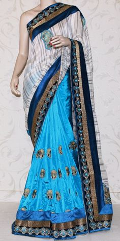 Buy this Designer Dupian Silk Saree Online : http://www.maanacreation.com/product-view/?id=2876  This trendy designer embroidered Saree is unique, individually crafted to give gorgeous look to your personality. This Saree brings that extra charm and appeal to your appearance, just right for the moment.