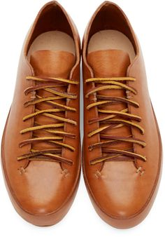 Feit Brown Leather Low-Top Sneakers