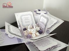 Purple/Silver With Butterflies and Flowers Wedding Exploding Box Card