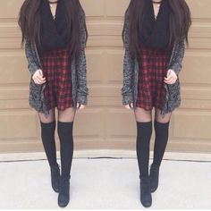 Want to restyle this look for a little more...maturity but love plaid dress with a cardi, jacket or kimono