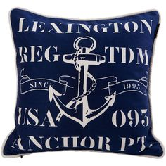 Lexington Seaside Blue Anchor Twill Cushion Cover - 50 x 50cm ($39) ❤ liked on Polyvore featuring home, home decor, throw pillows, nautical, quote throw pillows, blue home accessories, inspirational home decor, blue throw pillows and blue accent pillows