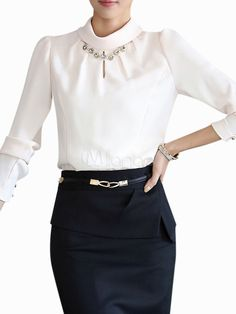 Milanoo white blouse with keyhole neckline and necklace detail