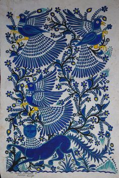Holland Designs and Productions by pam holland, reminds me of bark paintings and so many different culturesby pam holland, reminds me of bark paintings and so many different cultures Art Du Monde, Mexican Textiles, Art Ancien, Madhubani Art, Madhubani Painting, Mexican Designs, Mexican Folk Art, Fabric Painting, Blue Painting