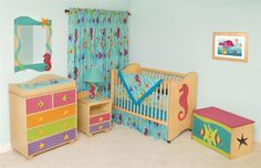 tropical nursery decor | Tropical Seas Nursery SetSea Bedrooms, Cribs Bedrooms, Kids Furniture ...
