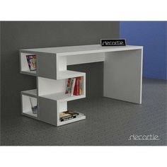 Decortie Aaron Office Table, White For The Kids With A Bit Of Storage For  Their Books
