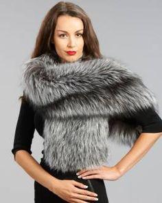 Exquisite Silver Fox Fur Stole  #silverfox #furonline #furfashion