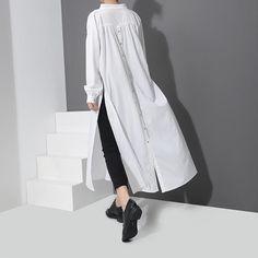 Breeks Convertible Button Dress - Women's style: Patterns of sustainability Fashion Pants, Hijab Fashion, Fashion Outfits, Fashion Women, Fashion Sandals, Fashion 2018, Cheap Fashion, Edgy Dress, Top Wedding Dresses