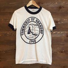 Vintage Township of Roxbury Ringer tee Beaver Fever, Indian Teepee, Ringer Tee, Tee Design, 1980s, Tees, Shirts, Sleeves, Mens Tops