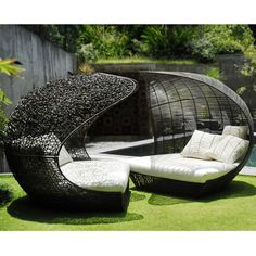 Modern Outdoor Daybed Furniture Design, Sculptural Collection by Neoteric Luxury, Twin Cheap Patio Furniture, Diy Garden Furniture, Outdoor Wicker Furniture, Furniture Ideas, Furniture Design, Resin Furniture, Wicker Chairs, Coaster Furniture, Furniture Outlet